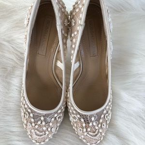 BCBGMAXAZRIA cream mesh sheer beaded satin heel
